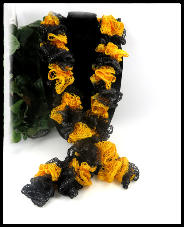 Black and Gold Ruffle Scarf