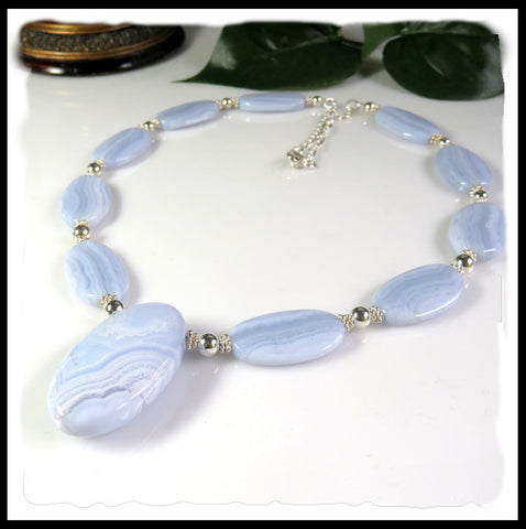 Blue Lace Agate beaded necklace with pendant