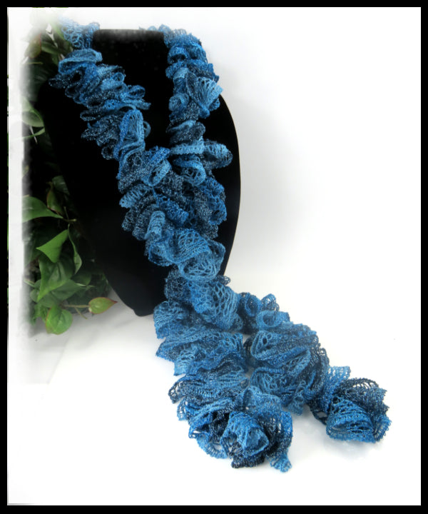 Shades of Teal Blue Ruffled Scarf