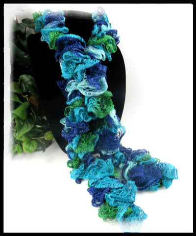 Blue, Turquoise and Green Ruffled Scarf