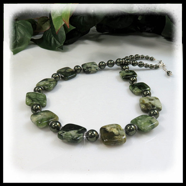 China Nephrite Jade green beaded necklace.