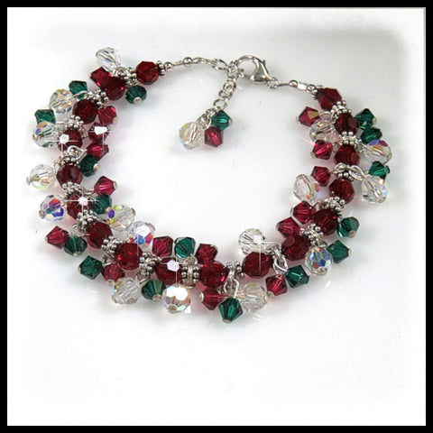 Red, green and AB Swarovski crystals beaded bracelet.