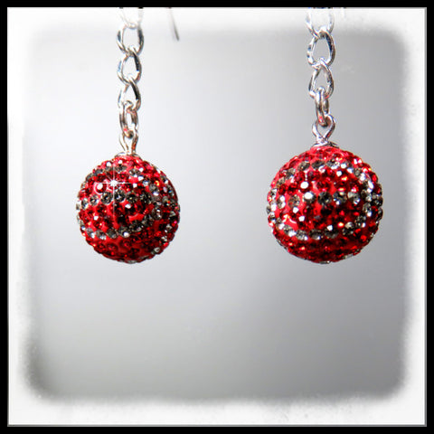 Scarlet and gray basketball earrings
