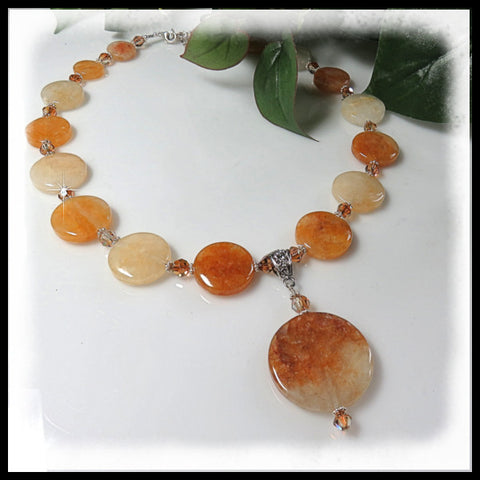 Citrine gemstone beaded necklace, with a Citrine coin pendant.