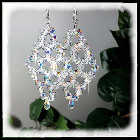 Over 70 Swarovski faceted AB crystals in each earring makes these really sparkle.