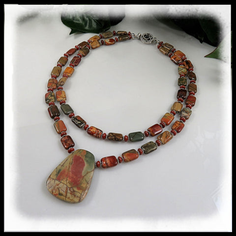 Double  strand Red Creek Jasper with pendant beaded necklace.
