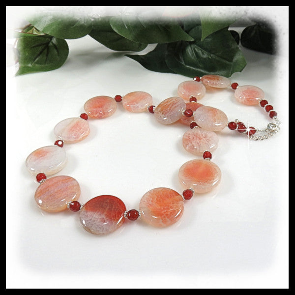 "Fire Crab Agate and Carnelian beaded necklace of 1 1/2"" coin gemstones."