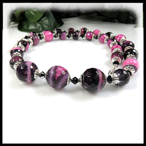 Bright Fushia and Black Quartz long beaded necklace.
