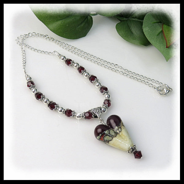 Handmade lampwork heart pendant with siam Swarovski crystals beaded necklace