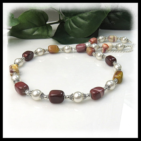 Red, burgundy, gold and brown Mookaite Jasper and White pearls necklace.