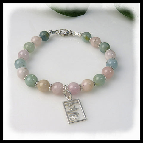 Soft pinks of Morganite gemstone beaded bracelet of divine love. charm