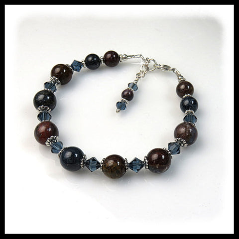 "Pietersite gemstone and Montana crystals in 8"" bracelet."