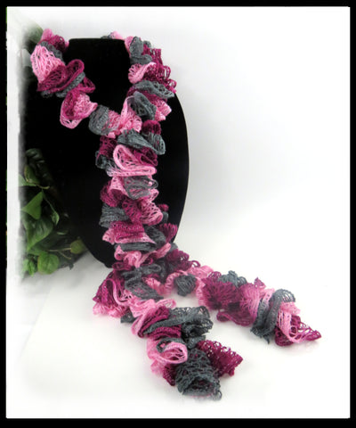 Burgundy, Pink and Dark Olive Green Ruffle Scarf