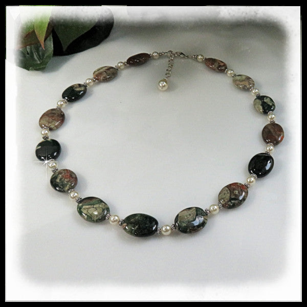 Rainforest Jasper beaded necklace in greens, tan, rust and salmon.