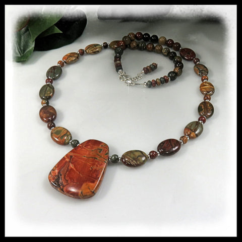 Birdseye Rhyolite beaded necklace with brown, cream, burgundy and gold.