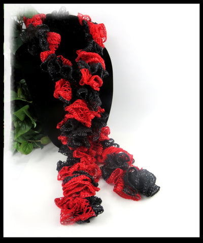 Black and Red Ruffle Scarf