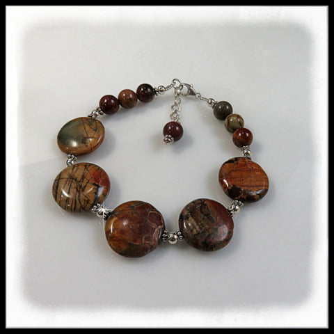 Red Creek Jasper beaded bracelet in rust, green, brown and gold.