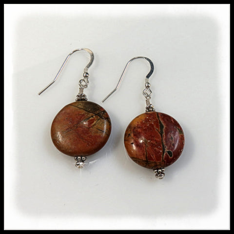 Coin Red Creek Jasper earrings of brown, gold, green and rust.
