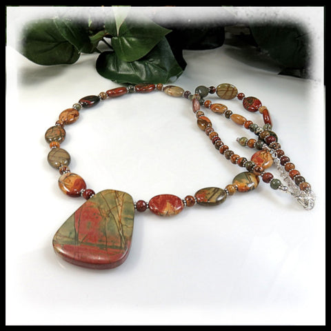 Red Creek Jasper and pearls beaded necklace with pendant.