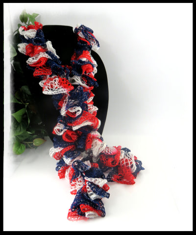 Red, White and Blue Ruffle Scarf