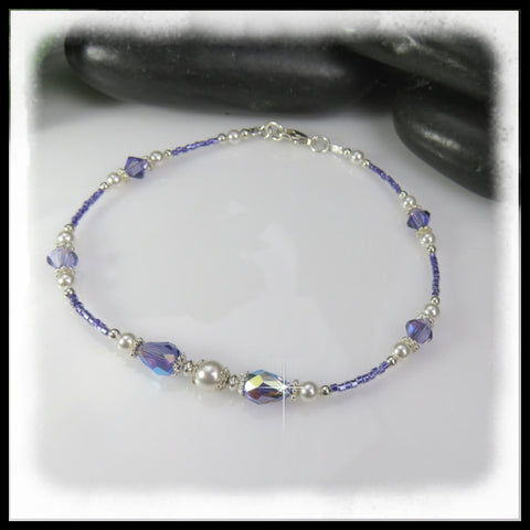 Tanzanite Swarovski crystal anklet with white Swarovski pearls.