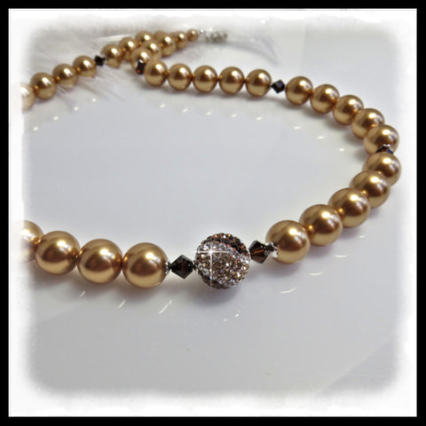 Gold Swarovski pearl beaded necklace with Pave and Crystal focal bead.