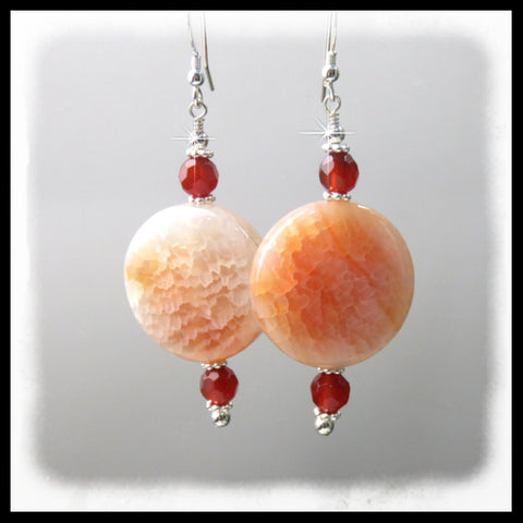 White and orange-rust Fire Crab and Carnelian earrings