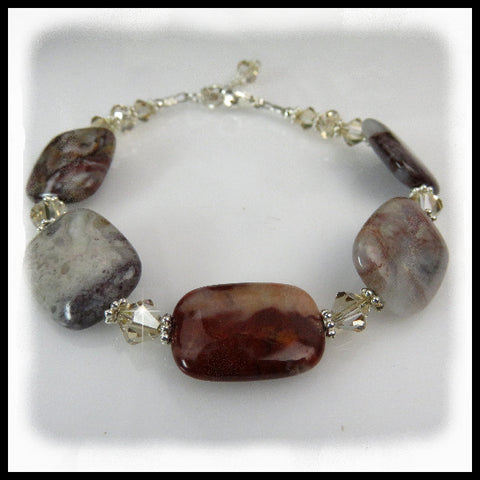 Flower Jasper  and crystal bracelet in browns and tan.