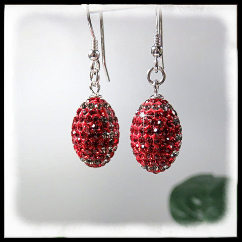 Scarlet and Gray crystal beaded jewelry in the shape of  football earrings.