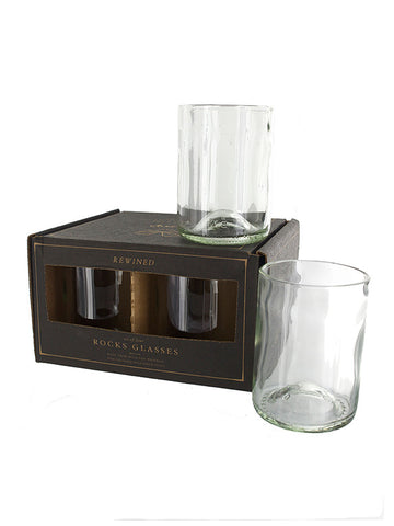 Wine Bottle Rocks Glasses (Green)