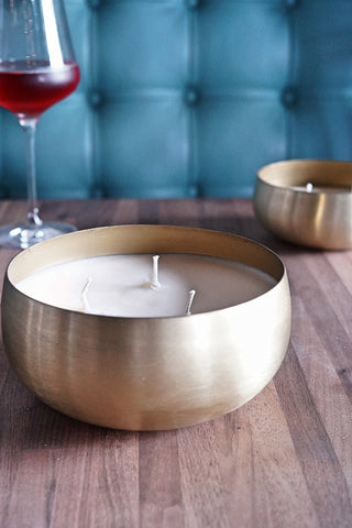 Champagne Large Gold Bowl 30 oz. Candle
