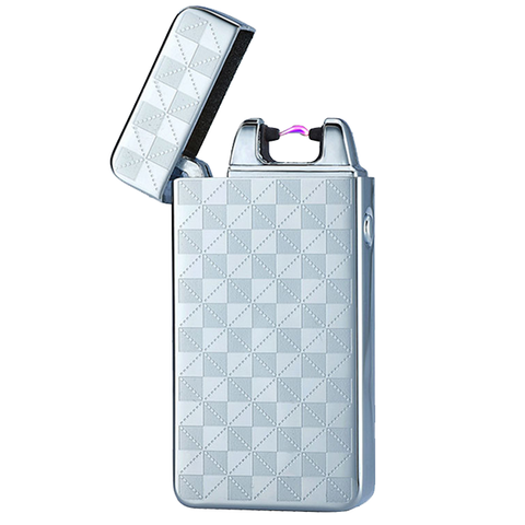 Grey Checkered Rechargeable Windproof Lighter