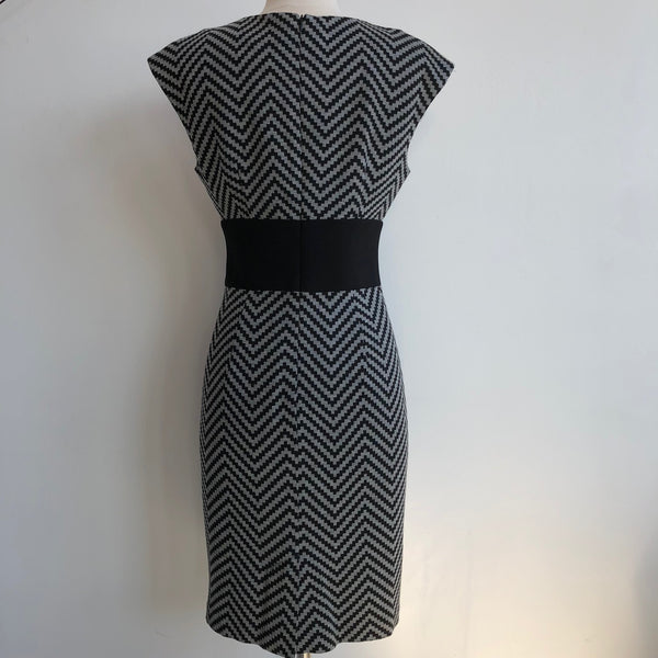 Trina Turk Grey Black Chevron Dress
