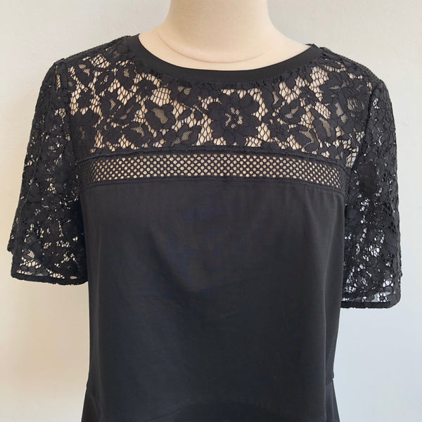 Rebecca Taylor Black Crocheted Top