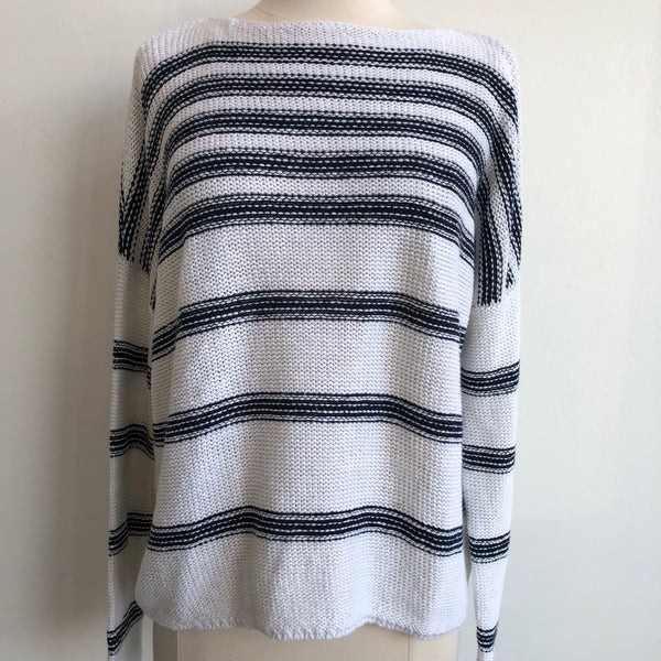 Vince Cream Navy Striped Sweater