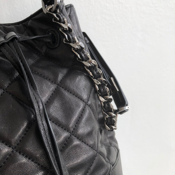 Alice Olivia Quilted Glazed Lambskin Leather Bucket Bag