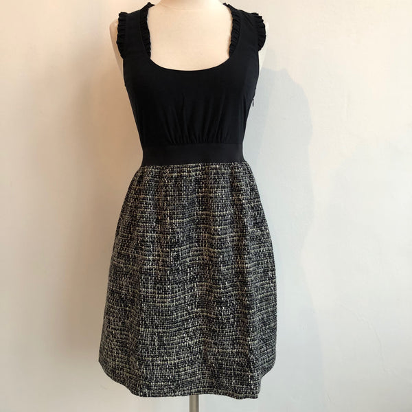 Rebecca Taylor Black and Tweed Ruffle Dress