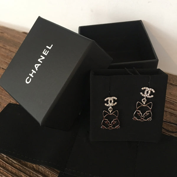 CHANEL Emoji Choupette Cat Crystal CC Earrings Silver