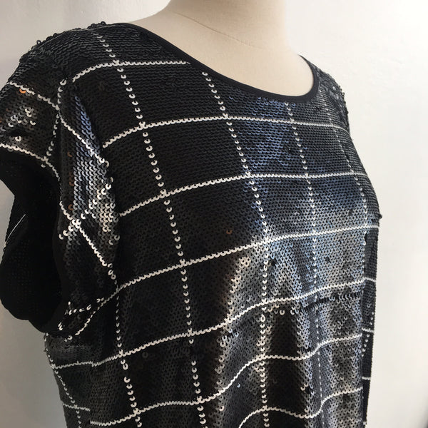 Joie Black White Sequin NWT