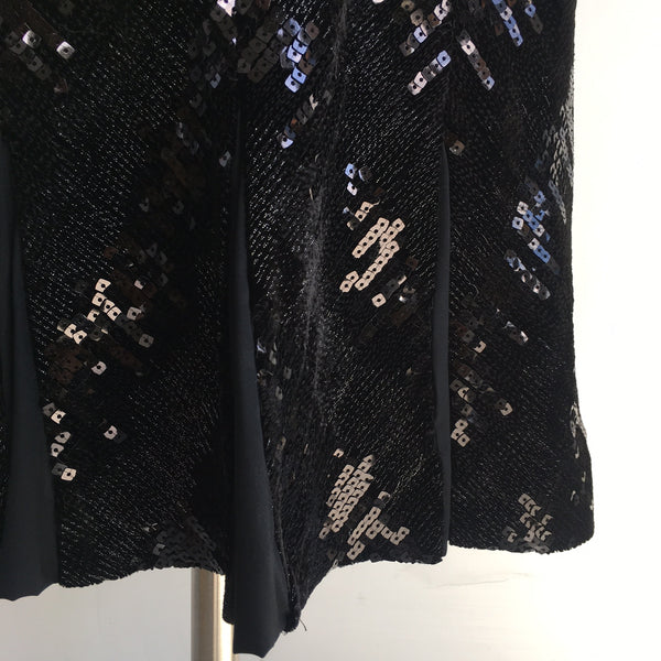 DVF Black Velvet Sequin Dress
