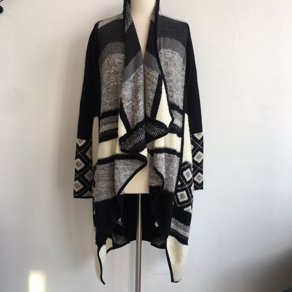Vince Open Draped Black White Sweater