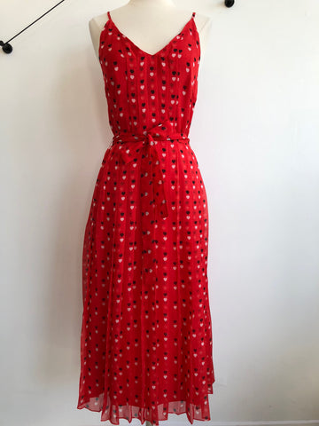 Christopher Kane Silk Midi Red Hearts