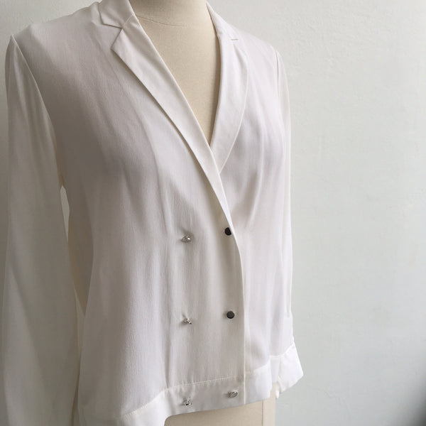 The Kooples White Silk 6 Button Top