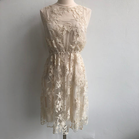 Alice Olivia Cream Lace Overlay Dress
