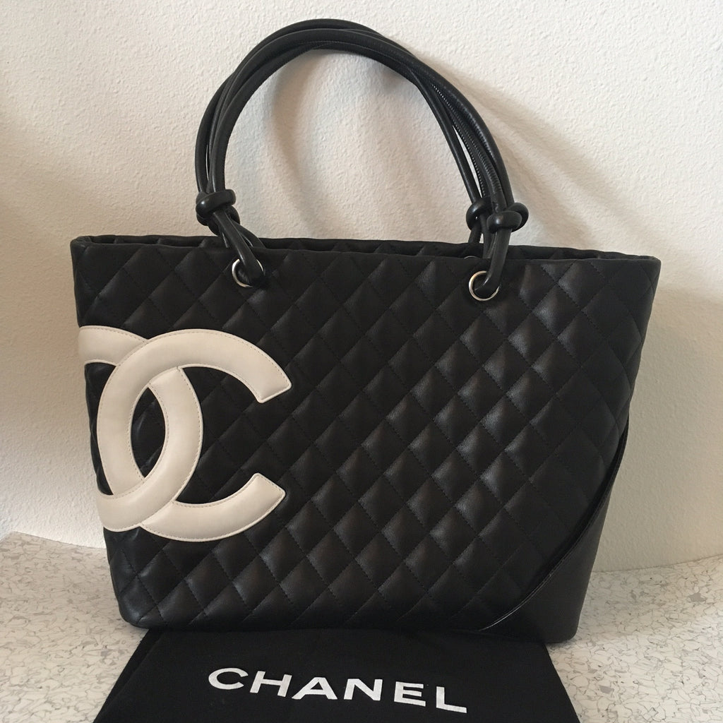 CHANEL Black Large Cambon Tote (white logo)