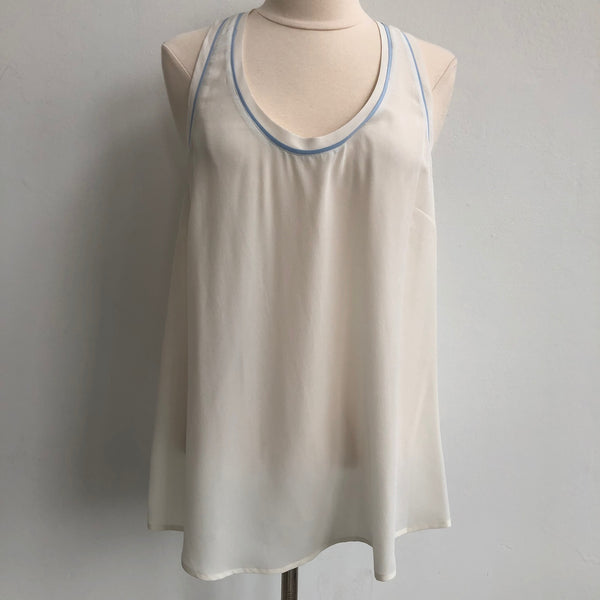Joie White Blue Silk Tank NWT