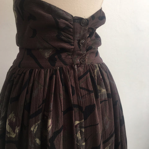 Maxmara Brown Floral Wool Skirt (high-waisted)