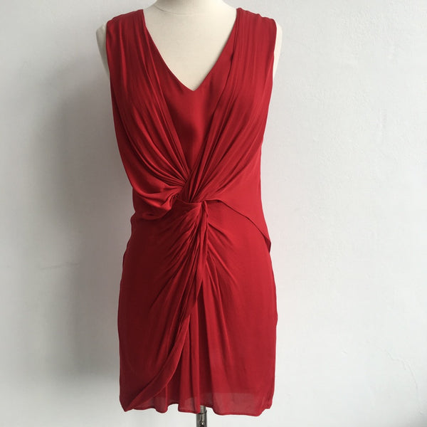 Alice Olivia Red V Draped Dress
