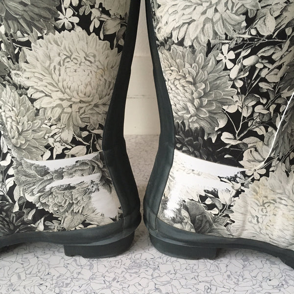 Hunter Limited Edition B/W Floral Rain Boots