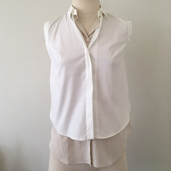 Brunello Cucinelli Double Layered White Blush Blouse NWT